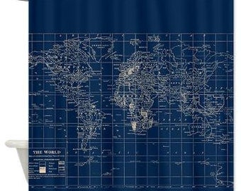 Decorative Map Shower Curtain   Navy Blue And Cream Vintage World Map Shower  Curtain   Home