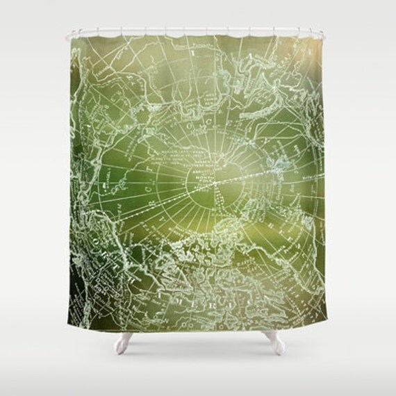 Forest green map shower curtain fabric vintage arctic map - Forest green shower curtain ...