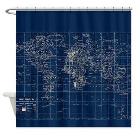 Decorative Map Shower Curtain Navy Blue And Cream Vintage
