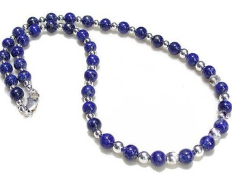Sterling Silver and Lapis Lazuli Beads Necklace