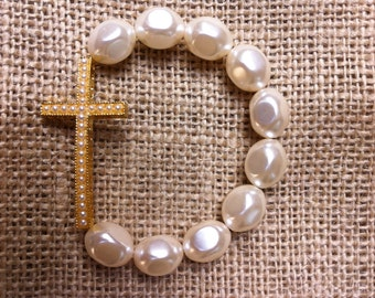 Sideways Cross Bracelet, Gold Cross with Mini Pearl Beads, 10 mm Pearls
