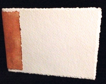 """Hand-Bound, Blank Watercolor Paper Journal 4""""x 6"""" with Tea Stained Spine"""