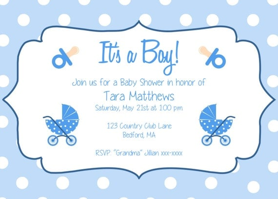 Boy Baby Shower Party Invitation Template     Baby Shower Template Word