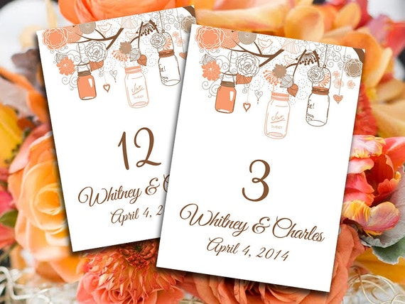 Wedding table number template coral peach orange mason for Table coral sample