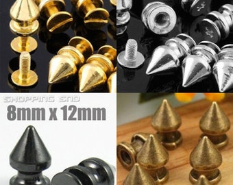 FREE SHIPPING Metal Tree Spikes Studs 12mm Gold/Silver/Bronze/Black