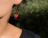 Red geometric formica earrings. Triangle pendant. French jewelry scandinavian style. Pendant vintage chain high quality 24k gold