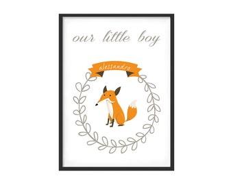 Graphic print for kidsroom or nursery, boy