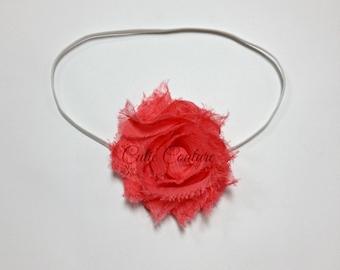 Stella- Coral Shabby Headband, Coral Headband, Shabby Headband, Coral Flower Headband, Newborn Headband, Newborn Photo Prop, Coral Clip