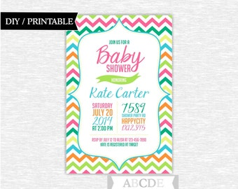 Girl Baby Shower invitation Chevron DIY Printable (INC001)