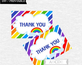 Instant Download Rainbow Party Thank You 4x6 card Birthday party Baby shower DIY Printable (PDSSD030)