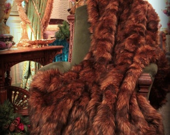 FUR ACCENTS Faux Fur Throw Blanket / Rich Brown Tones