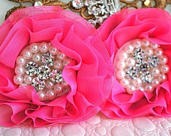 Set of 2 - Hot Pink Beaded Fabric Flowers - Hot Pink Fabric Flower -Rhinestone Pearl Flower Chiffon Beaded Flower - Parisian Chiffon Flowers