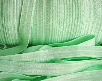5 yards - Mint FOE - 5/8 Fold Over Elastic - Foldover Elastic - Solid FOE- Elastic by the yard - Shiny Elastic - DIY
