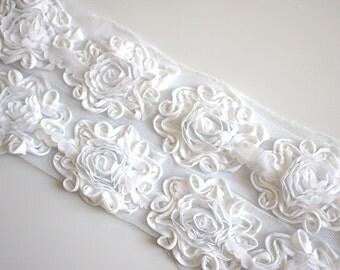 "1/2 Yard 2.5"" White Shabby Chiffon Flowers - Solid Shabby Rose Trim -Shabby Chiffon Rosettes - White Flowers - Flowers by the Yard -"