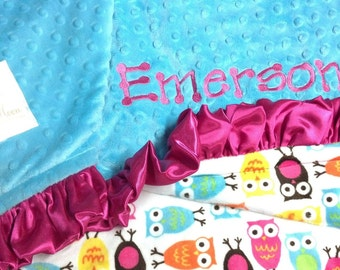 FREE SHIPPING Personalized Minky Baby Blanket with Robert Kaufman Night Owls Carnival.