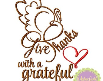 Give Thanks with a Grateful Heart **EXCLUSIVE**  Machine Embroidery Design