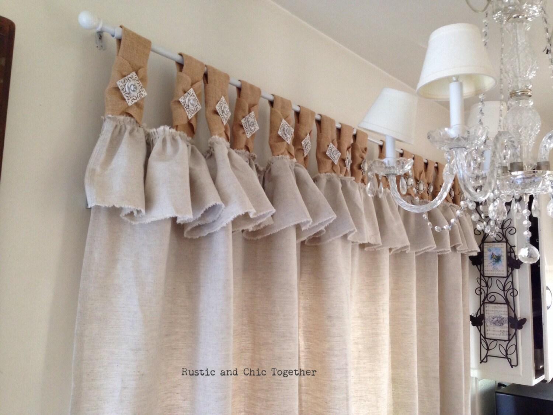 Cortinas de arpillera de lino natural con acento de joyer a - Telas rusticas para cortinas ...