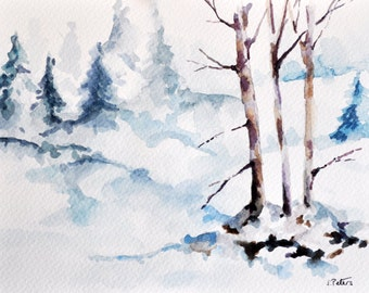 ORIGINAL Watercolor Landscape Painting 6x8 Inch, Winter Landscape, Christmas Trees