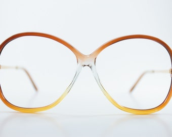 Vintage 80s Glasses   Clear Round Eyeglass Frame   NOS 1980s Brown Ombre Eyeglasses - July Tri-Brown