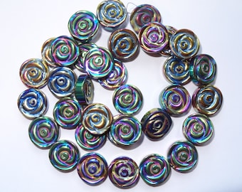 Cool Color Hematite Flower Beads