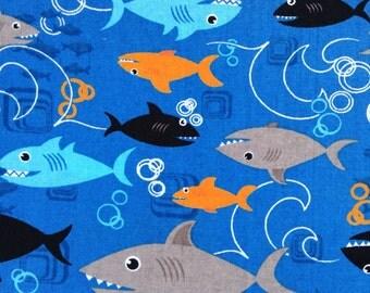 Half Yard Fabric - Comical Sharks