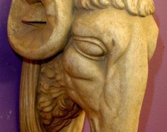 Ram Head Wall Plaque Sculpture Antique finish Statue