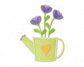 Flower In Can Includes Both Applique and Stitched