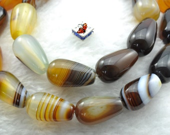 Banded Agate smooth teardrop beads 10x16mm,22 pcs