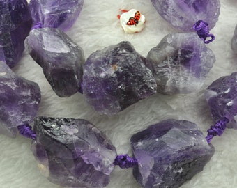 Amethyst Rough Nugget Chunks beads 16x22-18x30mm,15 inches