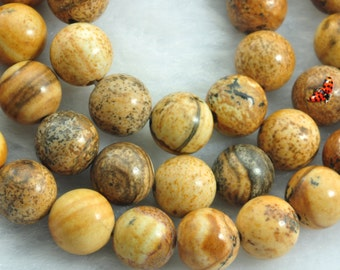 Picture Jasper smooth round beads 8 mm,47 pcs