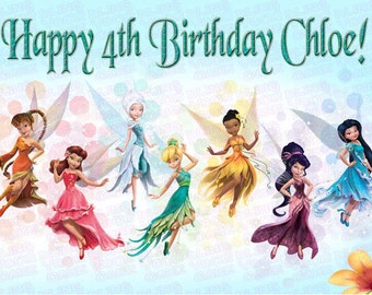 Disney Fairies Tinkerbell & Fairy Friends Edible Icing Sheet Cake Decor Topper - TINK1