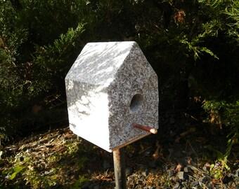 Birdhouse, Stone Birdhouse, Granite Birdhouse, Functional Birdhouse