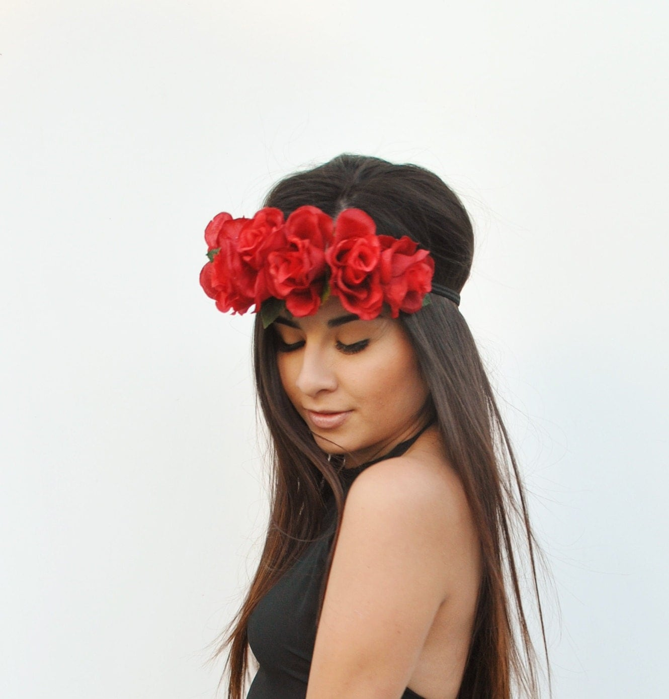 Rose flower red rose flower crown popular items for red rose crown on etsy izmirmasajfo Images