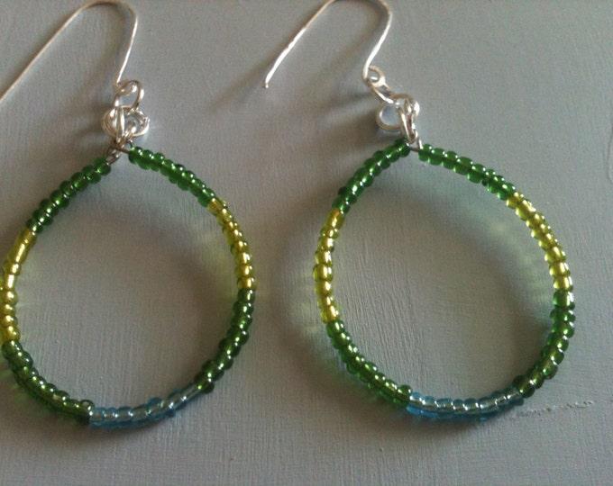 green & blue beaded teardrop shaped earrings