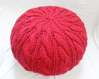 Cable and Rib Knit Pouf Ottoman, 35 color options PRE-STUFFED Made to Order