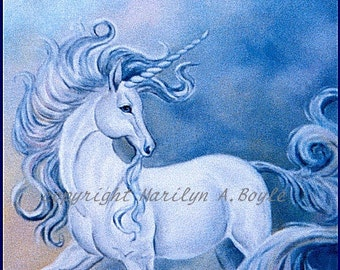 CARDS - SET of FOUR - Unicorns in Blues; 4 x 5 inch with envelopes