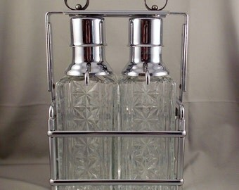 Vintage Pressed Glass Decanters With Chrome Caddy Free Shipping USA