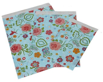 """Paper gift bags, 12x19 cm (4.7""""x7.5""""), set of 25, gift wrapping, blue gift bag, flower giftbag, blue, flowers"""