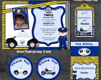 Police Invitation Police party Police birthday  Police invite Police party theme cops and robbers police thank you tag