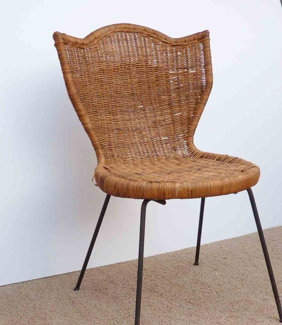 Vintage Wicker Chair Tulip Shaped Eclectic Cottage Chick