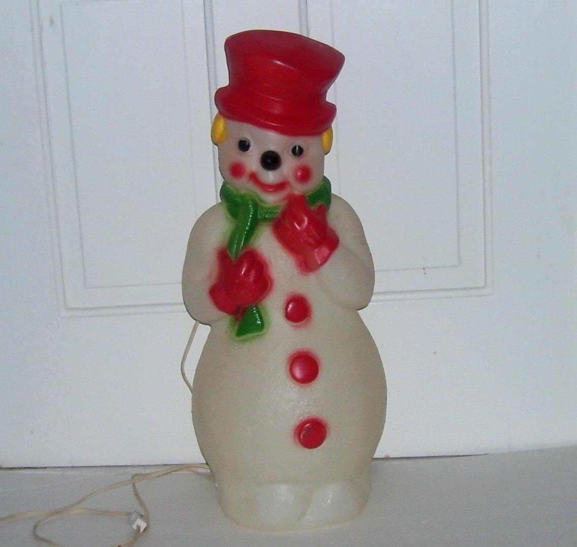 1973 Christmas Snowman Blow Mold Light Up Decoration