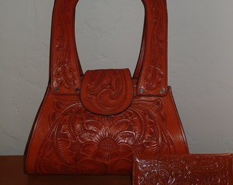 Vintage Inspired Mexican Leather Tooled Purse with color matching wallet