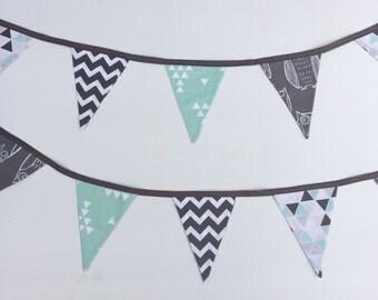 Aqua & Grey Owl Bunting Flags