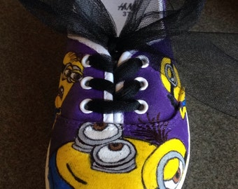 Minion shoes with purple background
