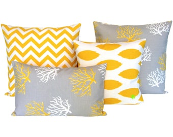 1 pillowcase Ikat pattern CHIPPER 50 x 50 cm yellow white