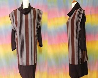 1980s Vintage Dress Avant Garde Cowl Stripes Vtg Grey Black Mid length 80s Size L