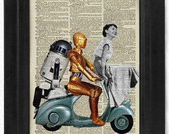 Buy3Get3 Free ,Star Wars Sabrina, Audrey Hepburn, R2D2, CP30, Dictionary Print,Dictionary Art, Book Art, wall Decor, Wall Art Mixed Collage