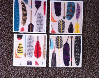 Colorful Feathers, Tile Coasters