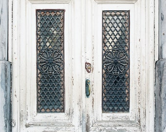 Montreal Doors Photograph, Travel Photography, Large Wall Art, Rustic, White Blue Gray, City Photography, Oversized Art, Door Photography