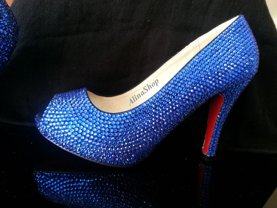 Sapphire Blue Wedding Shoes Crystals Bridal Shoes By AlinaShop